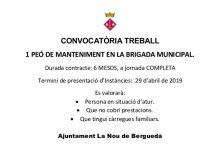 Convocatòria d'una plaça de peó de manteniment per la brigada municipal